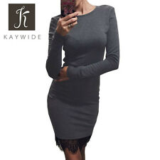 Casual Bodycon Party Dresses With Tassel Patchwork Long Sleeve Lace Women Dress