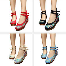 Women Ladies Retro Peacock Embroidery Wedge Platform Buckle Flats Oxfords Shoes