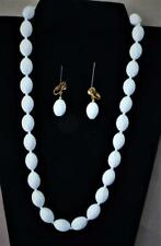 Vtg Signed TRIFARI Crown White Plastic Fluted Bead Set Necklace Clip-On Earrings