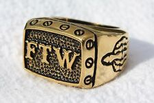 FTW Gold Stainless Steel Motorcycle Biker Ring Sz 7,8,9,10,11,12,13,14,15