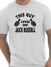 This Guy Loves His Jack Russell Dog Pet Mens Funny Gift T-Shirt Size S-XXL
