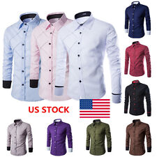 US Men Long Sleeve Slim Fit Classic Formal Business Plaid Shirt Blouses Tops