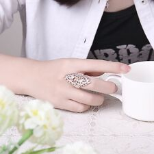 Fashion Women Carved 925 Sterling Plating Hollow Big Ring Ladies Finger Gifts