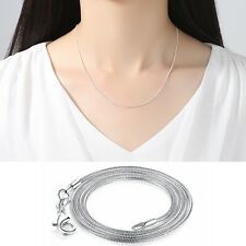 Women Snake Smooth 925 Sterling Italy Chain Necklace DIY Charms Pendant Jewelry