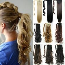 One Piece New Clip In Hair Extension Pony Tail Wrap Around Ponytail as human US