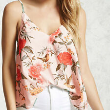 Sexy Women Floral Printed Summer Tops Deep V Neck Loose Sleeveless Sling Vests
