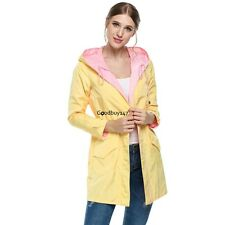 Zeagoo Women Long Sleeve Hooded Trench Coat Drawstring Waist Pure Color GDY701