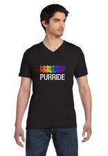 Purride Gay Pride Cat Lover Funny V-Neck T-Shirt Rainbow Flag