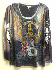 Womens Long Sleeve Sequin Underglass Fashion Shirt Peace LOT of 6 Boutique