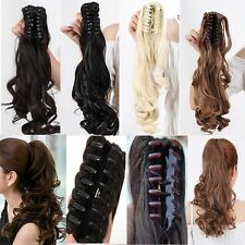 US 1Pcs Clip In Ponytail Pony Tail Hair Extension Claw On Hair Piece curly wavy