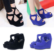 Women Gladiator Pointed Toe Wedge Platform Chunky High Heel Strappy Sandal Shoes