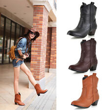 Women Ladies Faux Leather Platform Mid Calf Shoes Mid Heel Ankle Martin Boots