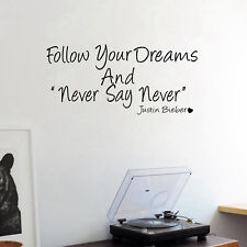 Never Say Never JUSTIN BIEBER Quote Wall Art stickers Decals Girls Bedroom Decor