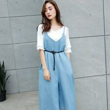 Women's Loose Spaghetti Strap Waist Belted Wide Leg Cropped Jumpsuits Rompers