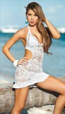 White Crochet Lace Beach Dress Cover Up with Ruffle Bottom