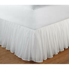 """Beautiful White Romantic Ruffled 15"""" Drop Cotton Voile Bed Skirt Bedskirt"""