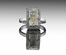 925 Sterling Silver Ring with Baguette Cut Green Tourmaline Natural Gemstone