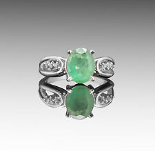 925 Sterling Silver Ring with Oval Cut Emerald Green Natural Gemstone Handmade.