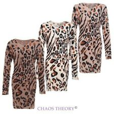 LEOPARD KNITTED BODYCON WINTER ALL OVER FLUFFY FUR JUMPER DRESS LADIES WOMENS