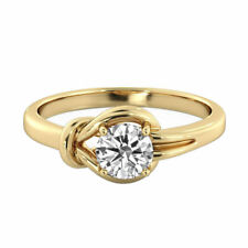 Solitaire Diamond Ring 14K Yellow Gold Certified Promise Band 0.85 CTW D VS1