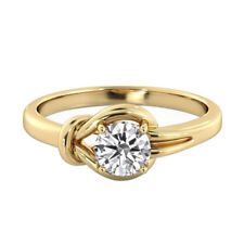 Solitaire Diamond Ring 14K Yellow Gold Certified Promise Band 1.14 CTW D SI2