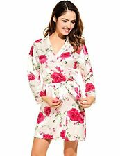 Avidlove Womens Kimono Short Robe Satin Blossoms Bridesmaid Bathrobe Sleepwear