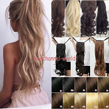 Real Thick Drawstring Ponytail Pony tail Clip In Hair Extension Straight Wavy US