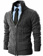 H2H Mens Casual Knitted Cardigan Zip-up W/ Twisted Pattern - Choose SZ/Color