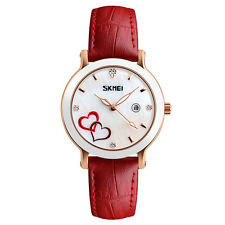 SKMEI Crystal Dial Student Quartz Wristwatch with Leather Bands 30M Waterproof