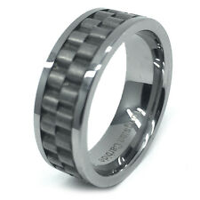 8mm Men & Ladies Tungsten Carbide Pipe Cut Rustic Rolex Inlay Wedding Band Ring