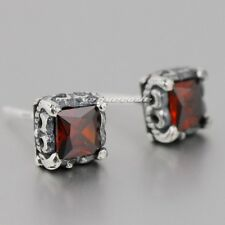 Fashion Jewelry 925 Sterling Silver Square Red CZ Stone Punk Stud Earring 8R017D