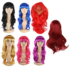 K9 New Women's Long Curly Fancy Dress Wigs Cosplay Costume Ladies Wig Party Red
