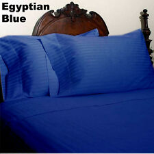 DUVET SET /FITTED/FLAT 1000TC EGYPTIAN COTTON ALL US SIZE EGYPTIAN BLUE STRIPED
