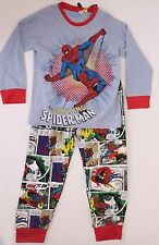 Marvel Comics The Amazing Spider-Man Baby Boys Blue Pajama Set Size 3/4 5/6 NWT