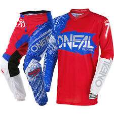 NEW Oneal 2018 MX Element Burnout Red White Blue Jersey Pants Motocross Gear Set