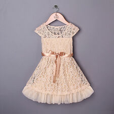 Baby Girl Flower Lace Summer Dress Toddler Kids Party Wedding Christening Casual