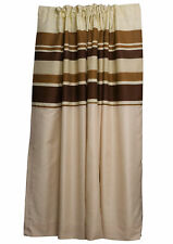 Brown Striped Fully Lined Pair of Curtains Ready Made Pencil Pleat Home Décor
