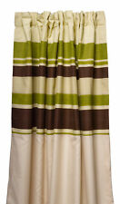 Green Striped Fully Lined Pair of Curtains Ready Made Pencil Pleat Home Décor