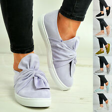 New Womens Ladies Bow Slip On Trainers Pumps Sneakers Plimsolls Shoes Size Uk