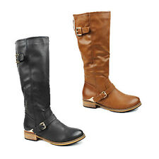 WOMENS LADIES CASUAL BLOCK HEEL BUCKLE FASHION KNEE HIGH BOOTS SHOES SIZE 3-8