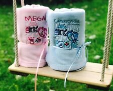 PERSONALISED BABY BLANKET EMBROIDERED NEWBORN GIFT! Baby Feet Design!