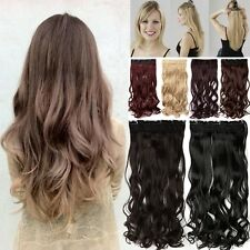 Real Long Hair Clip In Natural Synthetic Hair Extensions One Piece Straight Wavy