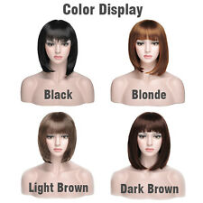 Women Ladies Girl Synthetic Bobo Short Straight Hair Party Cosplay Full Wigs