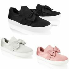 Womens Ladies Slip On Plimsoll Satin Bow Trainers Casual Sneakers Skater Shoes