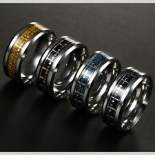 8MM Wide Titanium Stainless Steel Band Ring Women Men Size 6-13 Cross Logo