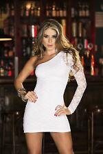 Long Sleeve Lace One Shoulder Mini Dress
