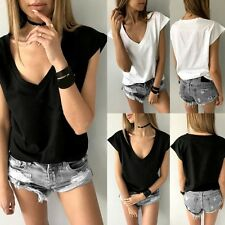 Women V-Neck T-shirt Summer Loose Short Sleeve Tops Tee Casual Basic Blouse S-XL