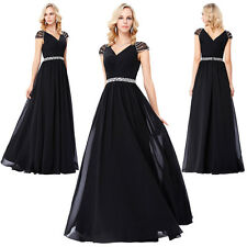 Women Sequin Bead V-Neck Chiffon Ball Gown Evening Prom Party Dress Size US 2~16