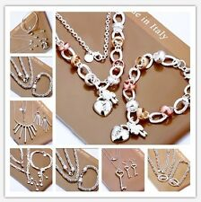 New Fashion Xmas Gift Silver Jewelry Set Necklace Bracelet Ring Earrings+925Box
