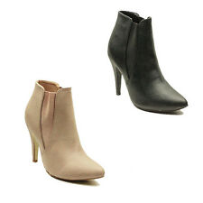 WOMENS LADIES CHELSEA STYLE POINTED TOE HIGH HEEL ANKLE BOOTS SHOES SIZE 3-8